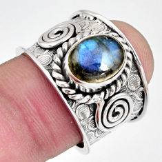 925 silver 3.13cts natural blue labradorite oval solitaire ring size 7 r10537