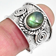 3.24cts natural blue labradorite 925 silver solitaire ring size 8.5 r10539