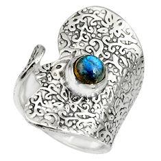 925 silver 1.47cts natural blue labradorite adjustable ring size 6.5 r10544