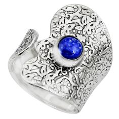 1.25cts natural blue lapis lazuli 925 silver adjustable ring size 7.5 r10546