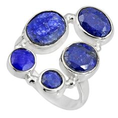 10.04cts natural blue sapphire 925 sterling silver ring jewelry size 8 r10551