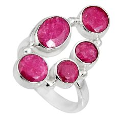 6.48cts natural red ruby 925 sterling silver ring jewelry size 5.5 r10553