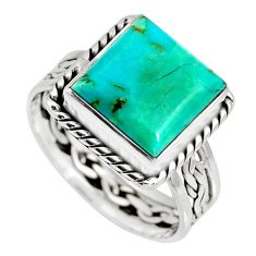 5.63cts green arizona mohave turquoise 925 silver solitaire ring size 8 r10555