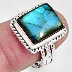 5.53cts natural blue labradorite 925 silver solitaire ring jewelry size 8 r10556