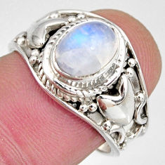 2.13cts natural rainbow moonstone 925 silver solitaire ring size 7 r10575