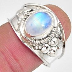 3.50cts natural rainbow moonstone 925 silver solitaire ring size 8 r10577