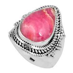 11.22cts natural rhodochrosite inca rose 925 silver solitaire ring size 8 r10584
