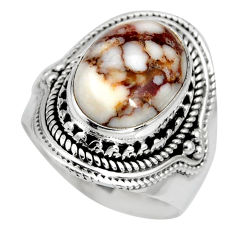 925 silver 6.96cts natural wild horse magnesite solitaire ring size 7.5 r10586