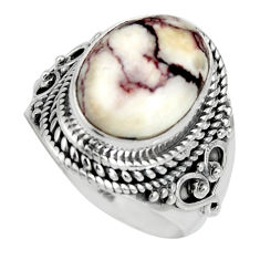 6.76cts natural wild horse magnesite 925 silver solitaire ring size 7.5 r10589