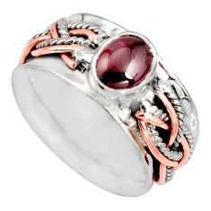 2.37cts victorian natural garnet silver two tone spinner ring size 8.5 r10597