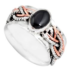 2.17cts victorian natural onyx 925 silver two tone spinner ring size 7.5 r10598