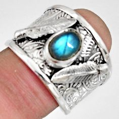 2.19cts natural blue labradorite 925 silver solitaire feather ring size 8 r10661
