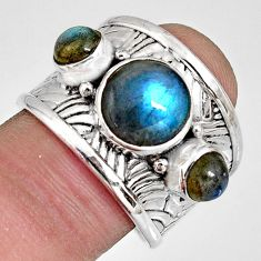 6.53cts natural blue labradorite 925 silver solitaire ring jewelry size 8 r10662