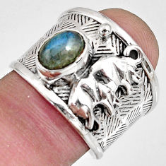 1.94cts natural labradorite 925 silver elephant solitaire ring size 7.5 r10668
