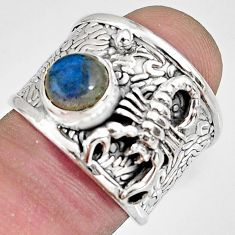 2.68cts natural labradorite 925 silver scorpion solitaire ring size 6.5 r10674