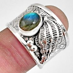 2.11cts natural blue labradorite sterling silver solitaire ring size 7.5 r10676