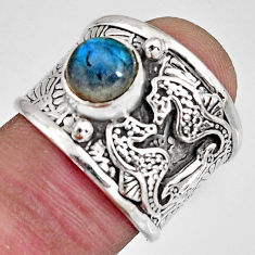 925 silver 2.59cts natural labradorite seahorse solitaire ring size 6.5 r10677
