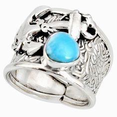 2.07cts natural blue larimar 925 silver anchor solitaire ring size 9.5 r10681