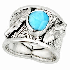 2.41cts natural blue larimar 925 silver feather solitaire ring size 7.5 r10682