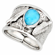3.13cts natural blue larimar 925 silver feather solitaire ring size 8 r10683