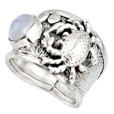 2.24cts natural rainbow moonstone 925 silver crab solitaire ring size 7.5 r10685