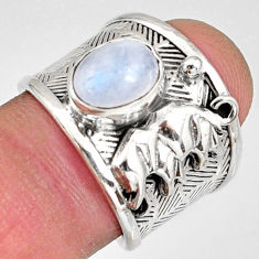 3.24cts natural rainbow moonstone silver elephant solitaire ring size 7 r10687