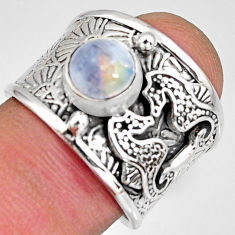 2.50cts natural rainbow moonstone silver seahorse solitaire ring size 7.5 r10689