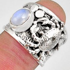 2.11cts natural rainbow moonstone 925 silver crab solitaire ring size 6.5 r10692