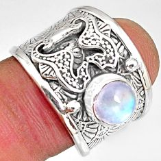 2.75cts natural rainbow moonstone silver seahorse solitaire ring size 7.5 r10695