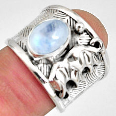 3.24cts natural rainbow moonstone silver elephant solitaire ring size 6.5 r10698