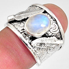 3.28cts natural rainbow moonstone silver feather solitaire fing size 6.5 r10700