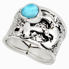 2.17cts natural blue larimar 925 silver anchor solitaire ring size 8 r10701