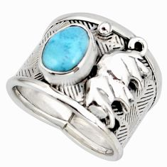 2.82cts natural blue larimar 925 silver elephant solitaire ring size 7 r10703