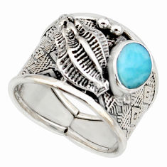925 sterling silver 2.18cts natural blue larimar solitaire ring size 8.5 r10704