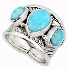 5.51cts natural blue larimar 925 silver solitaire ring jewelry size 6.5 r10705