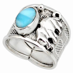3.01cts natural blue larimar 925 silver elephant solitaire ring size 7 r10706