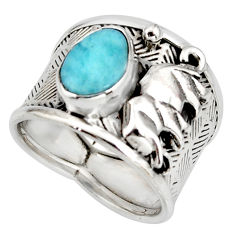 3.13cts natural blue larimar 925 silver elephant solitaire ring size 6.5 r10707