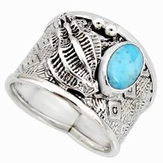 1.75cts natural blue larimar 925 silver solitaire ring jewelry size 8.5 r10708