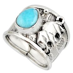 925 silver 3.44cts natural blue larimar elephant solitaire ring size 7.5 r10710