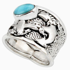 1.72cts natural blue larimar 925 silver feather solitaire ring size 6.5 r10711