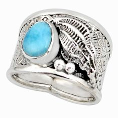 2.24cts natural blue larimar 925 silver solitaire ring jewelry size 8 r10712