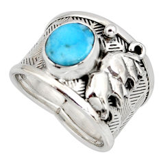 2.81cts natural blue larimar 925 silver elephant solitaire ring size 8 r10713