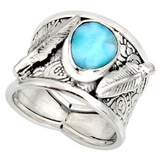 925 silver 3.12cts natural blue larimar feather solitaire ring size 6.5 r10716