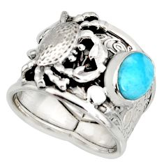 2.11cts natural blue larimar 925 silver crab solitaire ring size 7 r10717