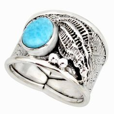 2.90cts natural blue larimar 925 silver solitaire ring jewelry size 7.5 r10719