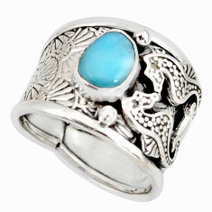 2.01cts natural blue larimar 925 silver seahorse solitaire ring size 6.5 r10721