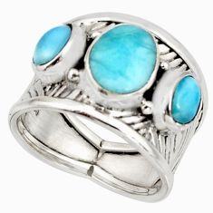 5.51cts natural blue larimar 925 sterling silver ring jewelry size 7.5 r10723