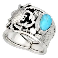 2.31cts natural blue larimar 925 silver crab solitaire ring size 8.5 r10725
