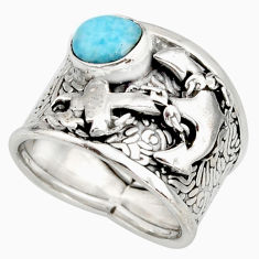 2.11cts natural blue larimar 925 silver anchor solitaire ring size 7 r10728