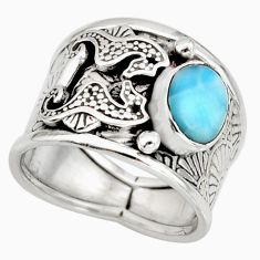 2.34cts natural blue larimar 925 silver seahorse solitaire ring size 7.5 r10729